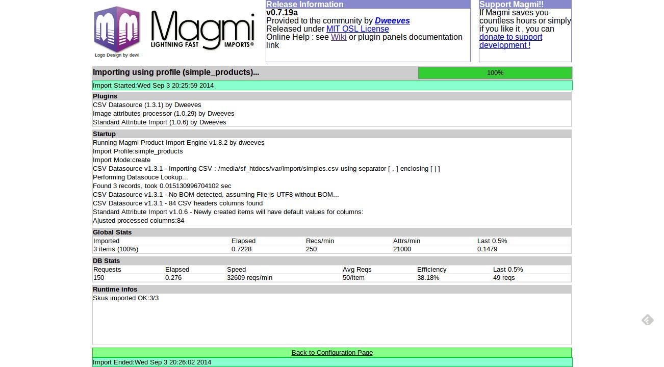 Magmi Success Screen